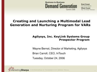 Creating and Launching a Multimodal Lead Generation and Nurturing Program for VARs
