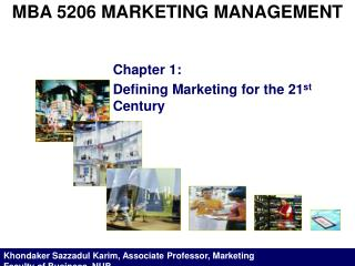 MBA 5206 MARKETING MANAGEMENT