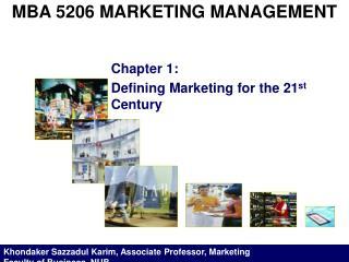 MBA 5206 MARKETING MANAGEMENT