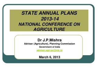 STATE ANNUAL PLANS  2013-14 NATIONAL CONFERENCE ON AGRICULTURE