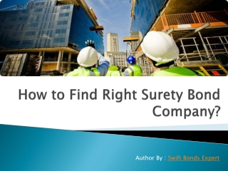 How to find right surety Bond Company?