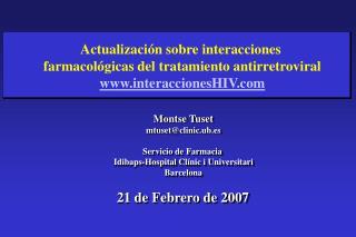 Actualizaci n sobre interacciones  farmacol gicas del tratamiento antirretroviral interaccionesHIV