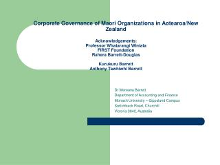 corporate governance of maori organizations in aotearoa