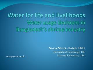 Water for life and livelihoods Water usage decisions in Bangladesh s shrimp industry