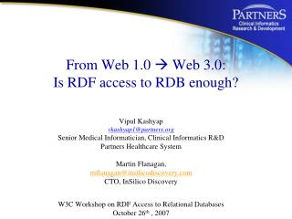 From Web 1.0  Web 3.0:  Is RDF access to RDB enough
