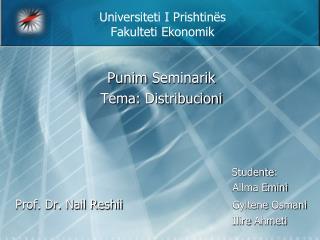 Universiteti I Prishtin s Fakulteti Ekonomik