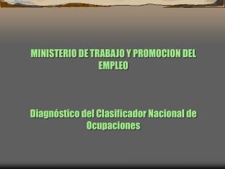 MINISTERIO DE TRABAJO Y PROMOCION DEL EMPLEO    Diagn stico del Clasificador Nacional de  Ocupaciones