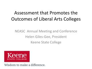 Assessment that Promotes the Outcomes of Liberal Arts Colleges
