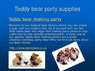 Teddy bear making parties