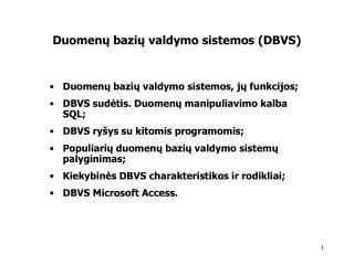 Duomenu baziu valdymo sistemos DBVS