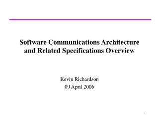 software communications architecture and related specifications overview