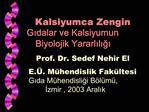 Kalsiyumca Zengin  Gidalar ve Kalsiyumun Biyolojik Yararliligi Prof. Dr. Sedef Nehir El E. . M hendislik Fak ltesi Gida