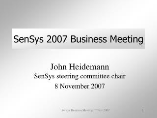 sensys 2007 business meeting