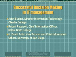 successful decision making  in it management