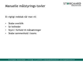 Manuelle m lstyrings-tavler