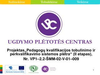 Projektas Pedagogu kvalifikacijos tobulinimo ir perkvalifikavimo sistemos pletra  II etapas,  Nr. VP1 2.2- MM-02-V-01 00