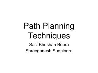 Path Planning Techniques