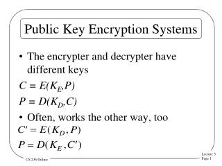 Public Key Encryption Systems