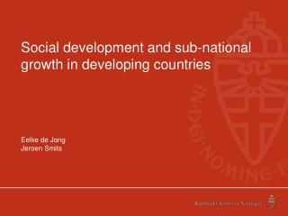Social development and sub-national growth in developing countries