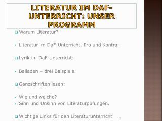 Literatur im DaF-Unterricht: unser Programm