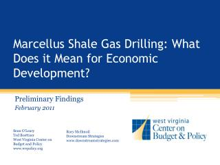 Marcellus Shale Gas Drilling: What Does it Mean for Economic Development