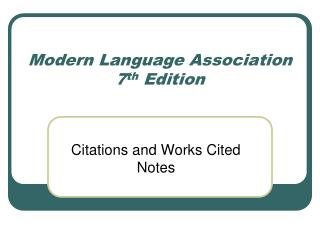 Modern Language Association 7th Edition