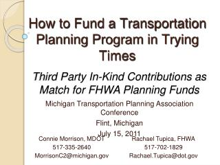 Third Party In-Kind Contributions as Match for FHWA Planning Funds