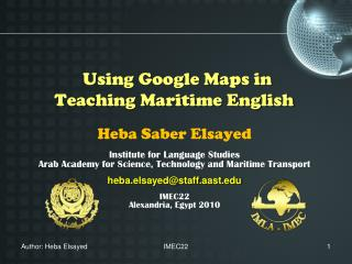 Using Google Maps in Teaching Maritime English