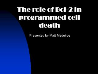 The role of Bcl-2 in programmed cell death