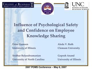 Influence of Psychological Safety and Confidence on Employee Knowledge Sharing