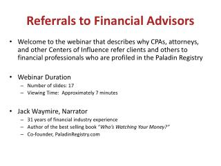 Referrals to Financial Advisors