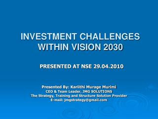 INVESTMENT CHALLENGES WITHIN VISION 2030