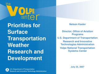 Priorities for Surface Transportation Weather Research and Development