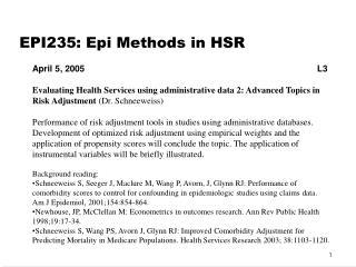 EPI235: Epi Methods in HSR