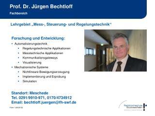 Prof. Dr. J rgen Bechtloff  Fachbereich