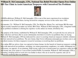 william d. mcconnaughy, cpa, national tax relief provider op