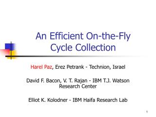 An Efficient On-the-Fly  Cycle Collection