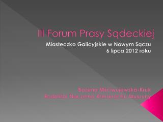 III Forum Prasy Sadeckiej