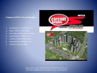 Residential Flats in MSA Circuit Heights at Jaypee Greens