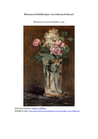 Bloemen Schilderijen van Edouard Manet -- Artisoo