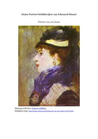 Dame Portret Schilderijen van Edouard Manet -- Artisoo
