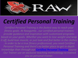 Personal Training Certified