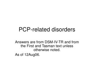 pcp-related disorders