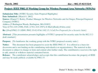 Project: IEEE P802.15 Working Group for Wireless Personal Area Networks WPANs  Submission Title: [NTRU Security Suite Pr