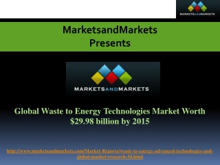 Global Waste to Energy Technologies Market Worth $29.98 bill