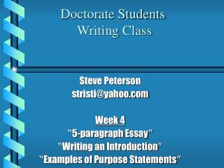 Doctorate Students  Writing Class
