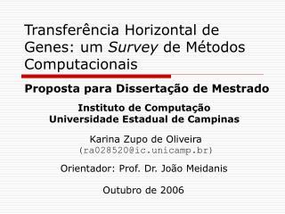 Transfer ncia Horizontal de Genes: um Survey de M todos Computacionais