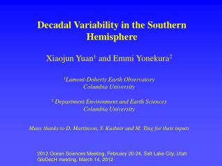 Decadal Variability in the Southern Hemisphere