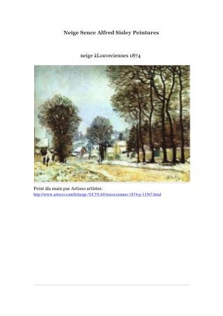 Neige Sence Alfred Sisley Peintures -- Artisoo