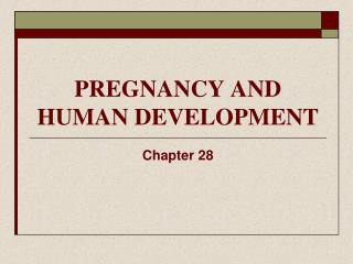 PREGNANCY AND HUMAN DEVELOPMENT